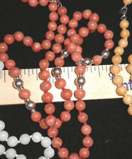 8mm Red Jade Beaded Necklace w/ 925 Silver N5105