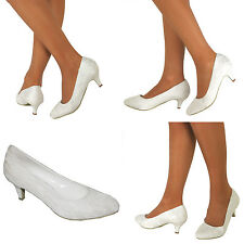 Ladies Wedding Shoes Womens Heels Satin Bridal Ivory Bridesmaid Court Shoes Size
