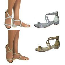 New Womens Flat Summer Jewelled Strappy Sandals Gladiator Flat Summer Shoes Size