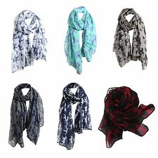 New Fashion Women Ladies Fashion Voile Horse Print Soft Long Scarf Wrap Shawl