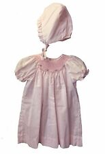 Petit Ami Dress Infant Girls Pink Bishop Smocked Dress with Bonnet NWT