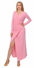 PINK SEXY FAUX WRAP MIDI MAXI RUCHED DRAPED SLIT EVENING PARTY COCKTAIL DRESSES