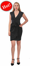 BLACK WOMEN'S CLASSIC SLEEVELESS SUMMER KNEE FAUX WRAP DRESS STRETCH PLUS DRESS