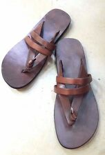 Mens Leather T-Strap Casual Womens Sandals Unisex Thong Flip-Flops Multi-US