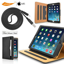 Luxury Leather Smart Wake Stand Case For iPad 2 3 4 Certified Lightning Cable AU