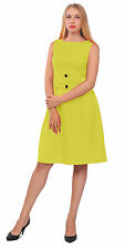 YELLOW WOMENS CLASSY VINTAGE 1950S 1960S SLEEVELESS WORK OFFICE A LINE DRESSES