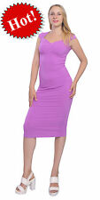 WOMENS VINTAGE BODYCON SLIM FIT SWEETHEART NECK CAP SLEEVE MIDI DRESSES A1289