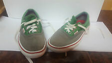 VANS GREY GREEN OLDER BOYS MENS SIZE 4 GREEN GREY USED SEE PICTURES