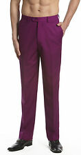 CONCITOR Men's Dress Pants Trousers Flat Front Slacks EGGPLANT PURPLE Color