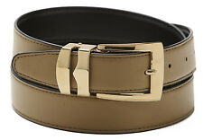 Reversible Belt Bonded Leather with Removable Gold-Tone Buckle TAUPE/ Black