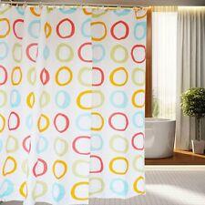 71'' Concentric Rounded Polyester Waterproof Bathroom Fabric Shower Curtain Hook