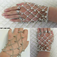 Vintage Silver Tone Belly Dance Bell Cuff Bangle Bracelet Dancing Ring Jewelry