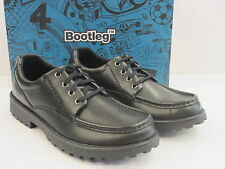BOOTLEG BY CLARKS BOYS SCHOOL SHOES 'UTILITY BOY' BLACK LEATHER