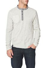 Henley Long Sleeve Speckle PX NEW Mens White Deep 4 Button Placket
