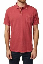 Pique Polo Short Sleeve Red Washed Slub NEW Mens PX with Pocket.
