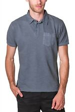 Pique Polo Short Sleeve Green Washed Slub NEW Mens PX with Pocket.