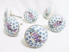 6 x Fish Design Retro Ceramic Knob Handles Door Cabinet Cupboard Drawer Pull