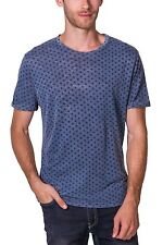 T-shirt Burnout All Over Print Crew Neck Short Sleeve NEW Mens Blue PX