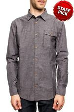 Shirt Long Sleeve Oxford Button Down NEW Mens Gray PX Wood Buttons