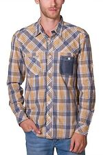 Shirt Plaid Long Sleeve Button Down NEW Mens Yellow Blue PX