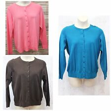 Charter Club Cardigan Button Sweater Brown Blue Pink Plus 0X 3X NWT P1