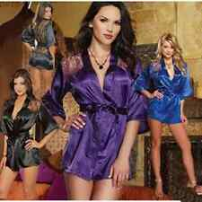 Top Sexy Lace Satin Babydoll Robe Sleepwear Lingerie Nightdress Pajamas G-string