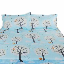 Fox Birds Trees Doona Quilt Duvet Cover Set Single Double Queen King Size Bed