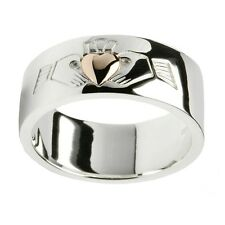 Silver and Rose Gold Irish Celtic Claddagh Wedding Band Ring Celtic Jewellery