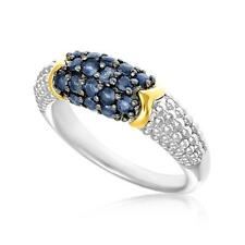 Sterling Silver and 18K Yellow Gold Blue Sapphire Popcorn Ring