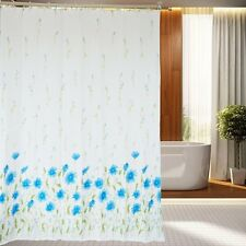 180×180CM Blue Flowers Polyester Waterproof Bathroom Fabric Shower Curtain Hooks