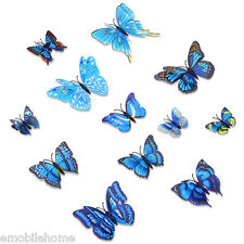 DIY 12pcs PVC 3D Butterfly Wall Decor Stickers for Bedroom Office Decorations