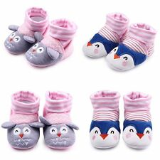 0-12M Cue Newborn Infants Baby Toddler Anti-Slip Socks Shoes Slipper Prewalker
