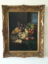 BRITISH SCHOOL, STILL LIFE OIL PAINTING ON BOARD, IN ORNATE FRAME. 20TH CENTURY