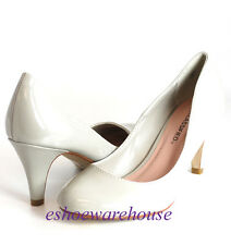 Round Toe Cutie Comfy Mid Heel Pumps Light Gray Patent