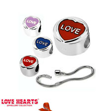 LOVE HEARTS JEWELRY COLLECTION STERLING SILVER  ENAMEL CHARM BEADS OR BRACELET