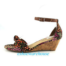 Black Multi Floral Summer Cutie Low Mid Wedge Slide Sandals Shoes Closed Back