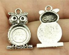 18pcs fit 14mm Cameo Cabochon Antique Bronze or Silver Round OWL Base Setting