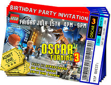 Personalised Lego Jurassic World Invitations Vip Ticket Birthday Party Card - 01
