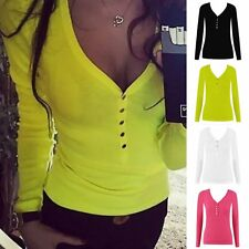 Fashion Sexy Womens Long Sleeve V-Neck Loose Bandage Button T-Shirt Tops Blouse