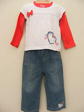Baby Girls Charmmy Kitty Jeans & Layered Top Set Age 12-18 & 18-24 Months NEW