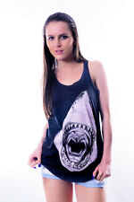 Shark Print New Womens %100 Cotton Anthracite Vest Tank Top S M L