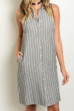 Sleeveless Collared Striped Button Down Shirt Dress.