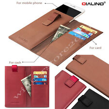 Permium Luxury QH Real Genuine Leather Card Solt Wallet Purse Case Pouch Sleeve