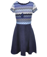 """Amy Byer Big Girls' """"Balloon Woven"""" Dress with Necklace (Sizes 7 - 16)"""
