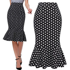 New Polka Dots Mermaid Pinup 50s Vintage Dress Retro Fitted Wiggle Pencil Skirts