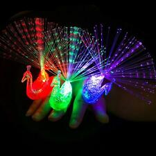 Finger Light Up Ring Laser LED Party Rave Favors Glow Beams Fun Peacock Toys JF
