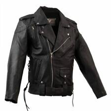 Mens Leather Motorcycle Jacket Brando Classic Biker Style Jacket with vents S -