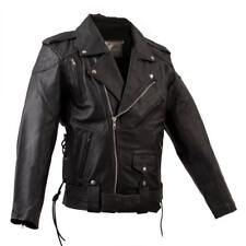 Leather New BRANDO Men's Classic Black Motorcycle Biker Jacket with vents S - 8X