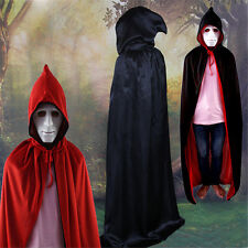 Halloween Fabric Costumes Cloak Death Devil Double-Sided Red + Black With Hat