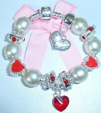 LADIES/GIRLS CHARM BRACELET PERSONALISE FAUX PEARL/ RED WEDDING/BIRTHSTONE JULY